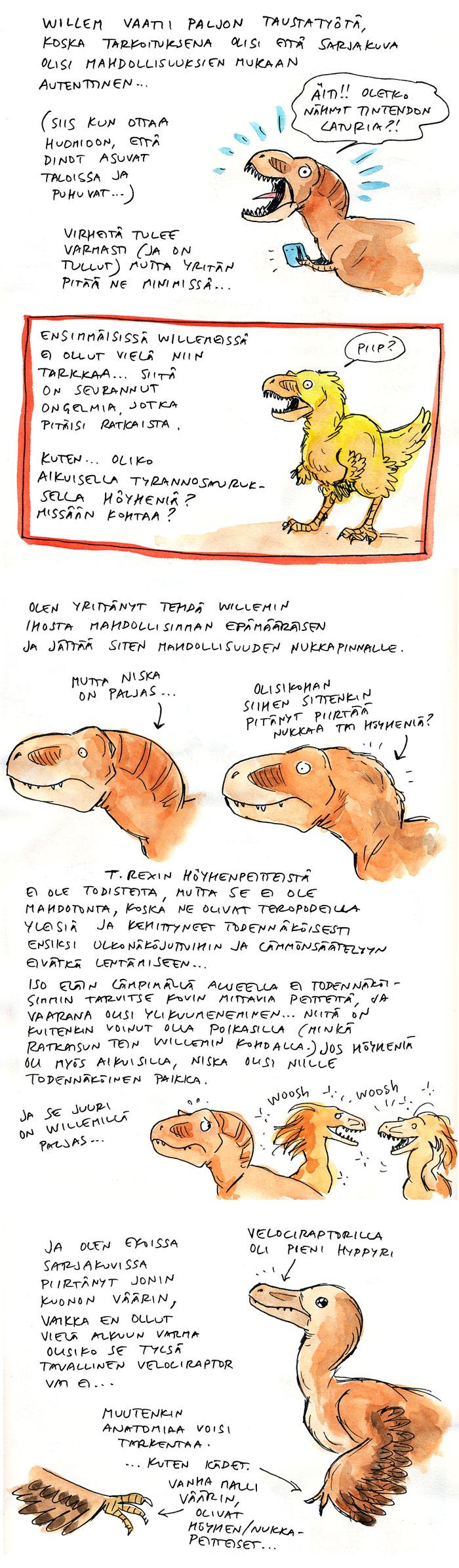 willem, tyrannosaurus, t.rex, dinosaurukset, sarjakuva