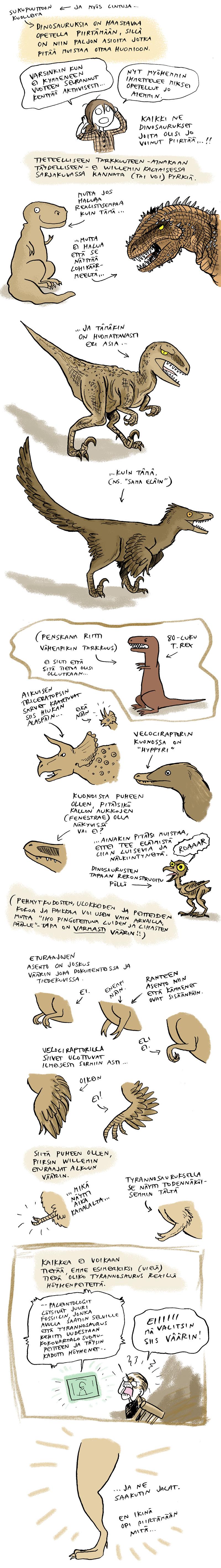 Dinosaurukset, piirtäminen, tyrannosaurus, velociraptor, triceratops